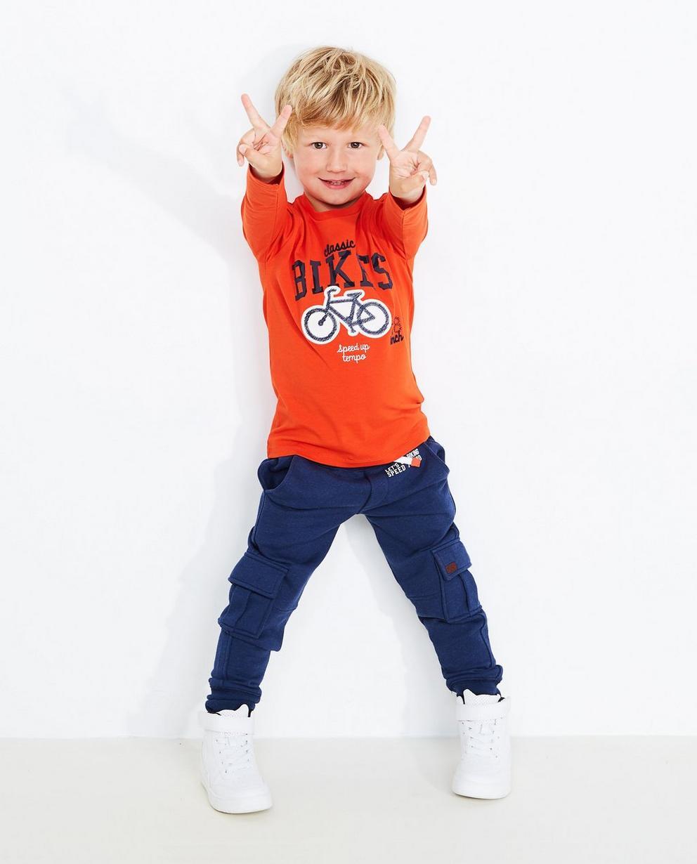 T-shirt à manches longues - imprimé de vélos, orange - JBC